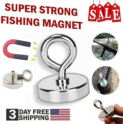 Fishing Magnet With Lifting Hook Neodymium Heavy Duty Magnetic Retrieve Salvage