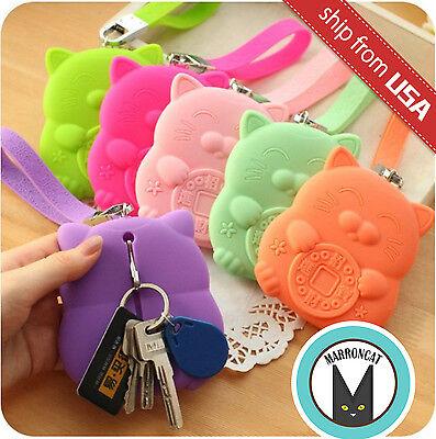Maneki Neko Cat Silicone Card Key Ring Holder Case Bag Organizer Kawaii Cute fun