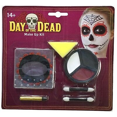 Day Of The Dead Halloween Fancy Dress Costume Make Up Party Face Paint Eye Pad - Day Of The Dead Halloween Costume Makeup