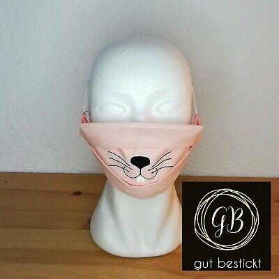Mundschutz mit Nasenbügel, Maske, Hase rosa, Zähne, Schnauze, waschbar,