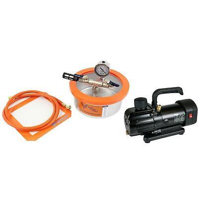 Bvv 2 Qt Stainless Steel Flat Vacuum Chamber Bvv130 3cfm 1-stage Pump Kit
