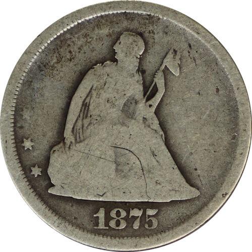 1875 20C Twenty Cent Piece Raw Circulated US 90% Silver Coin