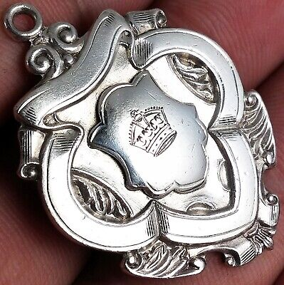 STUNNING ANTIQUE HALLMARKED SOLID STERLING SILVER ALBERT CHAIN FOB MEDAL