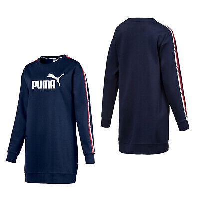 Puma Womens Tape Dress Long Sleeve Graphic Sweatshirt Navy 853442 06
