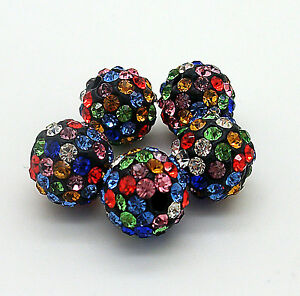 WHOLESALE 10mm Premium Quality Clay Crystal Pave Disco Ball Shamballa Beading UK