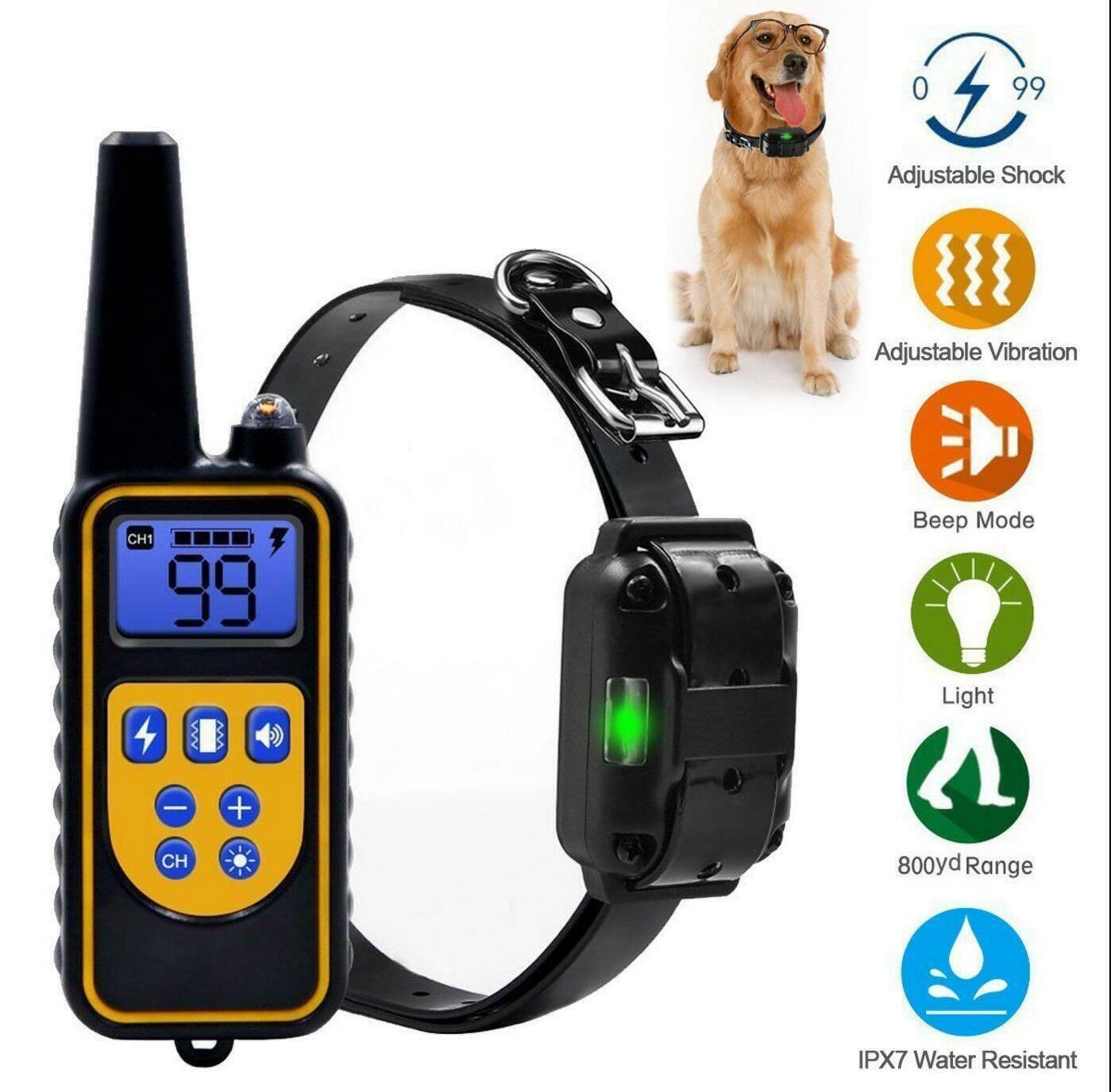 2600FT Remote Dog Shock Training Collar Rechargeable Waterproof LCD Pet Trainer Bark Collars