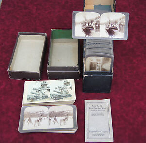 LARGE LOT 159 KEYSTONE UNDERWOOD STEREOSCOPE STEREOSCOPTIC CARDS BOXES BOOK MAP