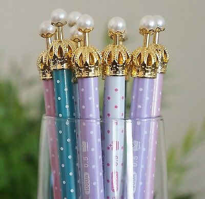 1 PC Cute Color Crown Pearl Mechanical Propelling Pencil Kids Gift Craft Supply