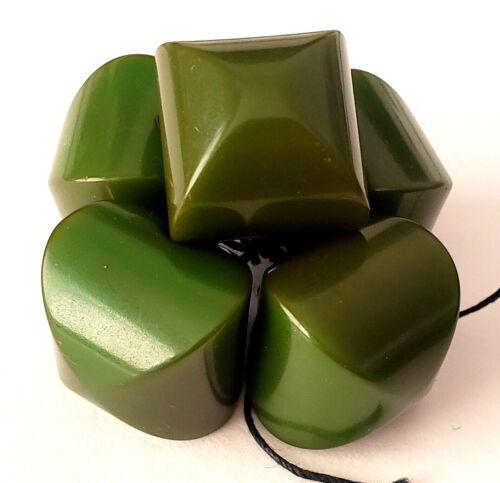 5 Bakelite Buttons…Green Fat Square Pillow Shape
