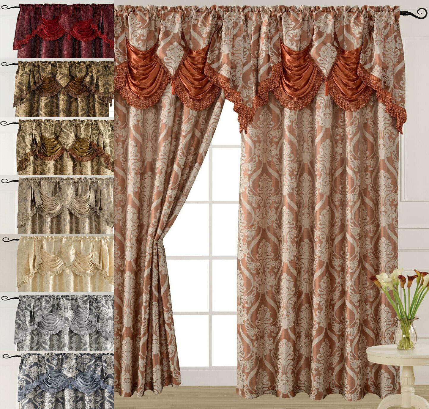 Luxury Jacquard Curtain Panel with Attached Waterfall Valanc