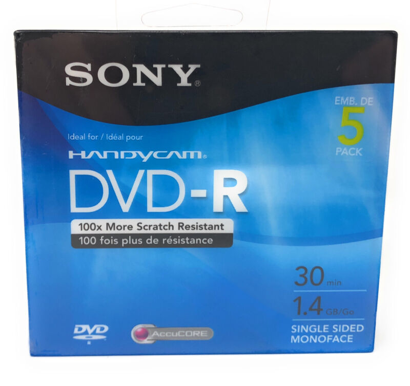 Pack of 5 Sony HandyCam DVD-R 1.4GB 30 Minute Single-Sided Discs *New & Sealed*