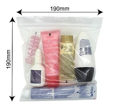 7 x Clear Airport Security Liquid Bags Plastic Seal Holiday Travel Hand Luggage