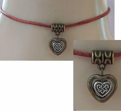 Heart Choker Necklace Gold Celtic Handmade Adjustable New Brown - Gold Celtic Heart