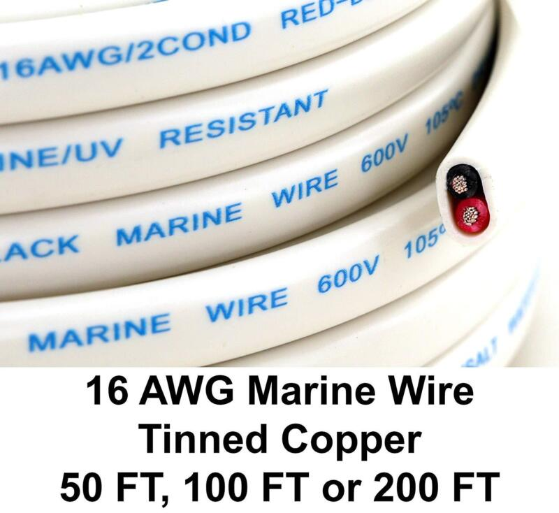 50FT 16/2 Gauge AWG Tinned Oxygen Duplex conductor AC Marine Boat Battery Wire