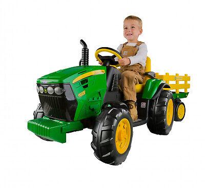 Kids 12V John Deere Ground Force Tractor Ride-On Toy Trailer FM Radio PEREGO