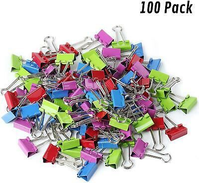 Small Mini Binder Paper Clips Office Supplies Assorted Colored Pack Of 100pcs