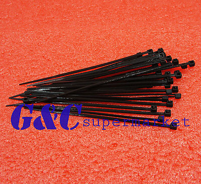 100pcs Black Network Nylon Plastic Cable Wire Zip Tie Cord Strap