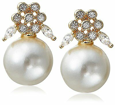 Stella + Ruby Gold Plated Wonderland Pearl Cubic Zirconia Crystal Post Earrings