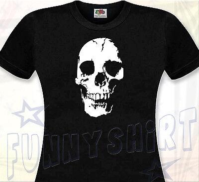 T-SHIRT FEMME TÊTE DE MORT - Horreur Halloween Skull Punk Gothique Métal Hard