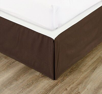 "Chezmoi Collection Solid Chocolate Brown Pleated Dust Ruffle Bed Skirt 15"" Drop"
