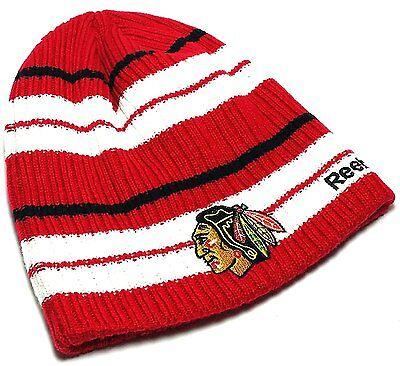 Chicago Blackhawks Reebok Red Stripe Wide Rail Winter Beanie Toque Knit Hat Cap Wide Stripe Beanie