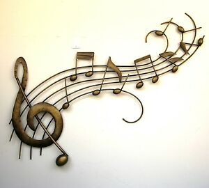 Metal Wall Art Decor Picture - MUSIC NOTES WAVE Gold *New* Boxed