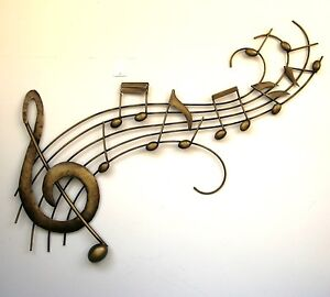 Metal Wall Art Decor Picture   MUSIC NOTES WAVE Gold *New* Boxed