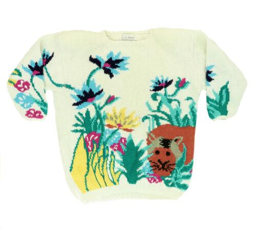 "VTG 80s 90s Jennifer Reed Women Small 42"" Cat Hand Knit Sweater Cotton Chunky"