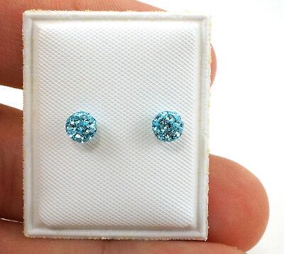 Sterling Silver Baby Blue Disco Ball Earrings for kids 4mm  - Disco Balls For Kids