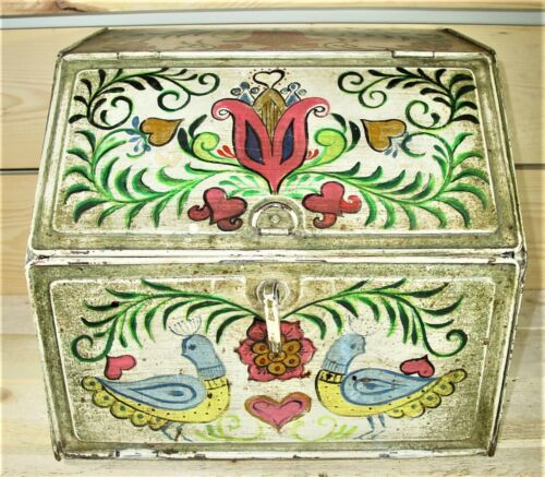 Vintage 1950s 2 Compartment Metal Bread Box Hand Painted Roosters Flowers Bird