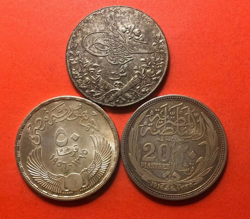 EGYPT-1912-1956-LOT OF 3 VINTAGE SILVER 20 PIASTRES COINS.AVERAGE CONDITION.