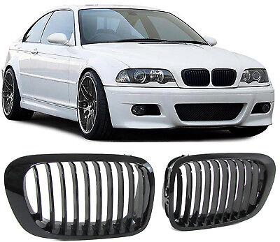Sport Kühler Grill Nieren schwarz glänzend für BMW 3ER E46 Coupe Cabrio 99-03 gebraucht kaufen  Witten