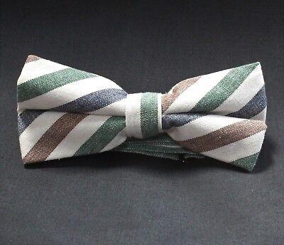 Bow Tie. Off White with stripe. Cotton . Premium Quality. Pre-Tied. BV14 White Stripe Bow Tie