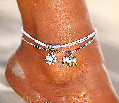 ☆ Silberne Fußkette | Elefant Sonne Anhänger | Erfolg Glück Weißheit | 21-26cm ☆
