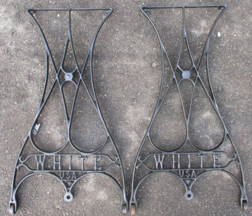 """WHITE set of 2 CAST IRON INDUSTRIAL LEGS TABLE BASE 28"""" high"""