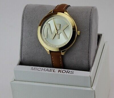 NEW AUTHENTIC MICHAEL KORS SLIM RUNWAY GOLD CHAMPAGNE BROWN WOMEN'S MK2326 WATCH