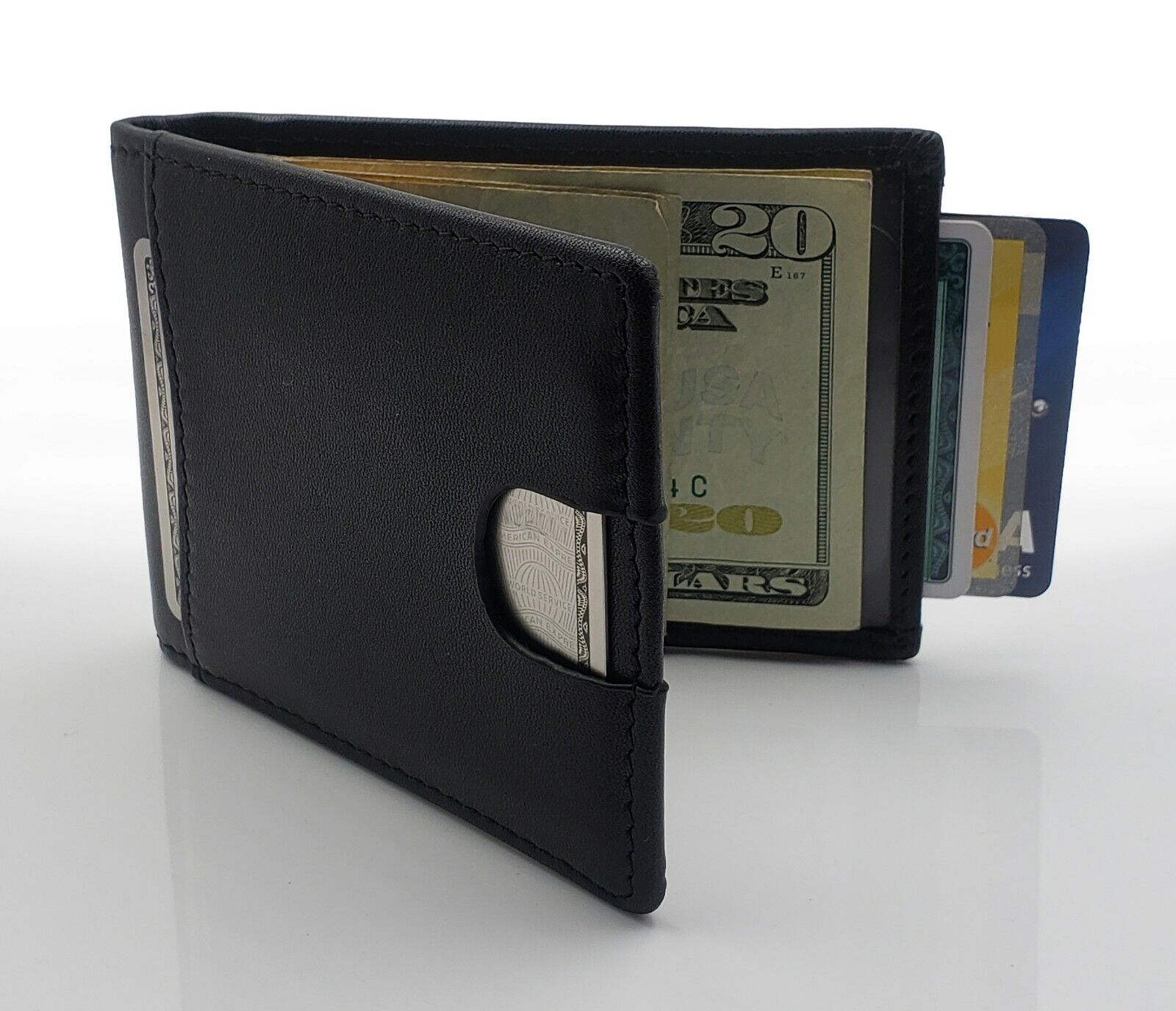 AG Wallets Mens Leather Bifold Wallet, RFID, Slim Design, Mi