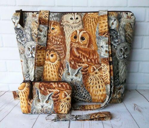 Handmade Tote Bag Shoulder Handbag Purse Project Knit Crochet Travel Owls Gift