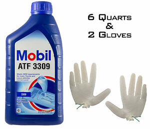 Mobil ATF 3309 ATF Automatic Transmission Fluid - 6 QUARTS + 2 FREE Gloves