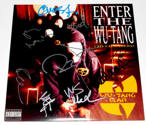 WU-TANG CLAN GROUP SIGNED ENTER THE WU-TANG (36 CHAMBERS) VINYL ALBUM LP COA X9