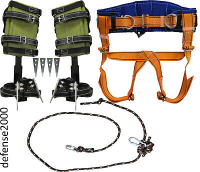 Tree Climbing Spike Set Safety Belt With Straps Adjustable Friction Saver