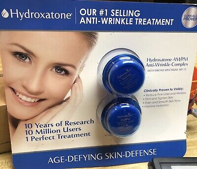 2x TWO PACK Hydroxatone AM PM Anti Wrinkle Complex Broad Spectrum SPF 15 1 Fl Oz