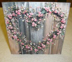 Wandbild-Dekofliese-Vintage Shabby-Herz aus Rosen