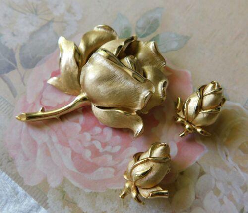 Vtg CROWN Trifari Rose Brooch & Earrings Clip Satin Pin Goldtone 3D Detailed SET
