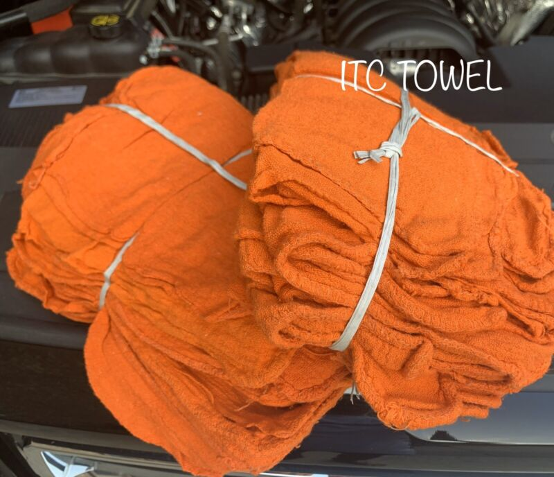1000 New Commercial Orange Shop Rags Towel 14x14
