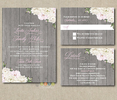 Personalized  Rustic Wood White & Pink Peonies Floral Wedding Invitations ](Floral Wedding Invitations)