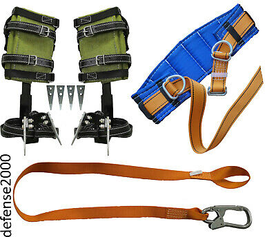 Tree Climbing Spike Set Safety Belt Safety Lanyard With Carabiner