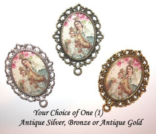 Our Lady of Mount Carmel Floral Rosary Center/Part/Choice of Silver/ Bronze/Gold