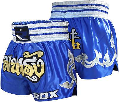 Pantaloncino RDX Muay Thai blu MTS-R1U, raso e ricamati,palestra,competizioni