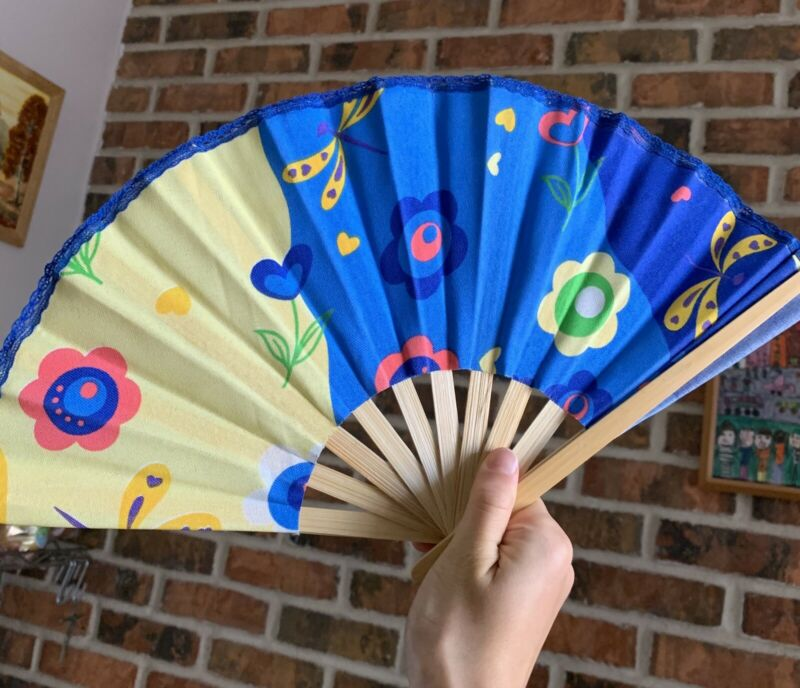 Japanese Chinese Style Folding Collapsible Handheld Fan Lace Colorful Blue Kids